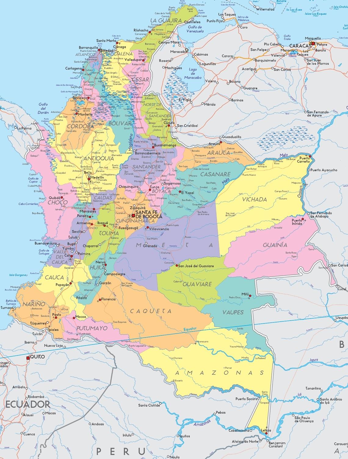 mapa da colombia