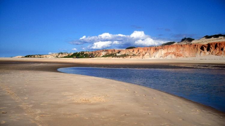 Praia com falésias em Canoa Quebrada